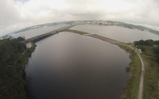 Imagem feita pelo drone do IPT na Represa Billings (Foto: Divulgação)