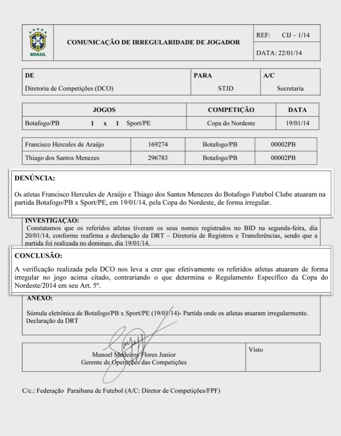 cbf atesta possível irregularidade de pio e thiaguinho do botafogo-pb (Foto: Reprodução / CBF)