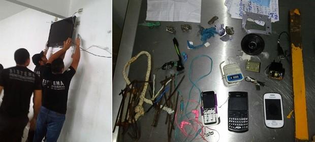 Aparelho de TV estava no refeitório da unidade (Foto: Divulgação/Sejuc)