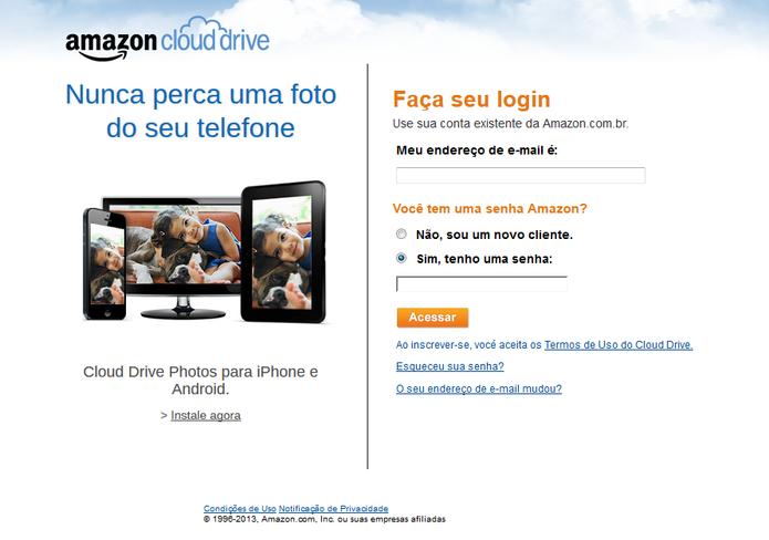 Faça seu login no Amazon Cloud Drive e ganhe 5GB para armazenar seus arquivos  (Foto: Reprodução/Carol Danelli)
