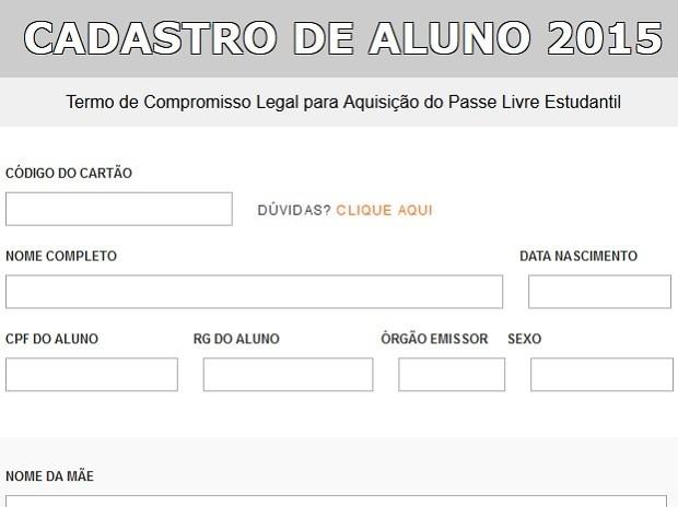 Formulário para requerer o Passe Livre Estudantil no DF (Foto: DFTrans/Reprodução)