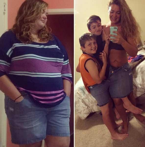 Justine antes e hoje, com os filhos (Foto: Reprodução - Instagram)