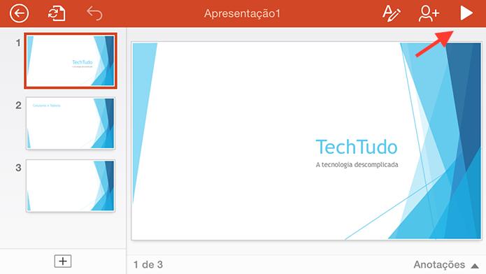 Iniciando uma apresentação do Powerpoint em tela cheia em um dispositivo iOS espelhado em uma Apple TV (Foto: Reprodução/Marvin Costa)