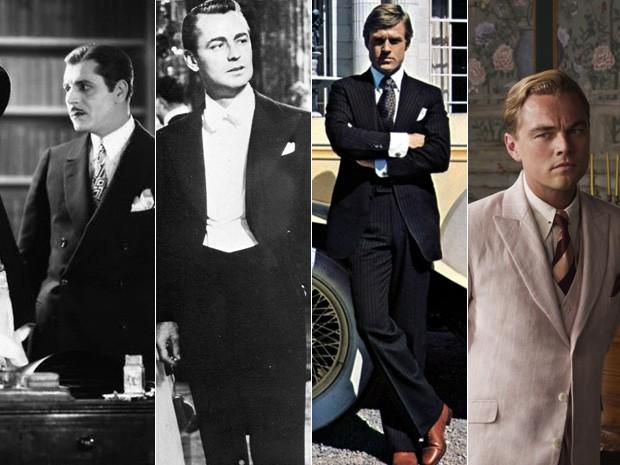 Da esq. para dir., os atores que viveram Jay Gatsby no cinema: Warner Baxter, em 1926; Alan Ladd, na versão de 1949; Robert Redford, no filme de 1974; e Leonardo DiCaprio no longa que estreia sexta (Foto: Divulgação)