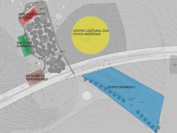 Mapa do projeto de construção do complexo turístico no entorno da Igreja de Santo Antônio. (Foto: Divulgação/Iphan)