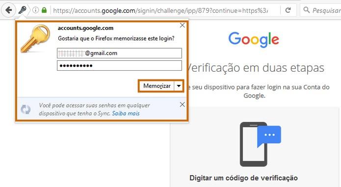 Agora basta confirmar na hora de acessar o Gmail pelo navegador (Foto: Reprodução/Barbara Mannara)