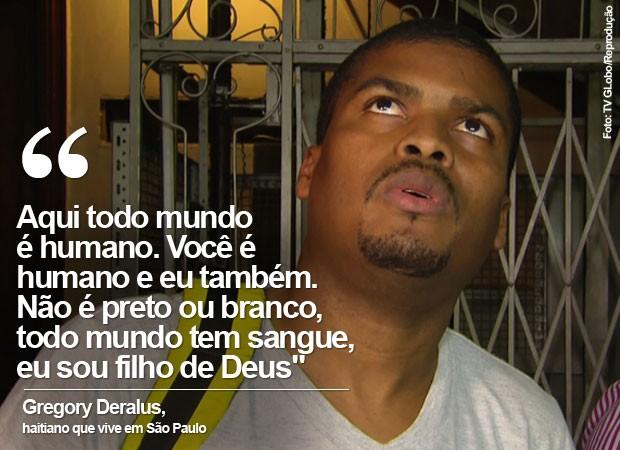 Haitiano Gregory Delarus baleado em São Paulo (Foto: TV Globo/Reprodução)