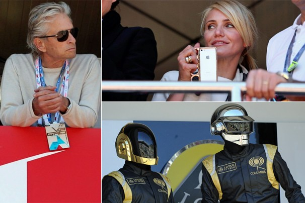 Michael Douglas, Cameron Diaz e a dupla Daft Punk estiveram em Monte Carlo no ano passado (Foto: Getty Images/EFE/Associated Press/AFP)