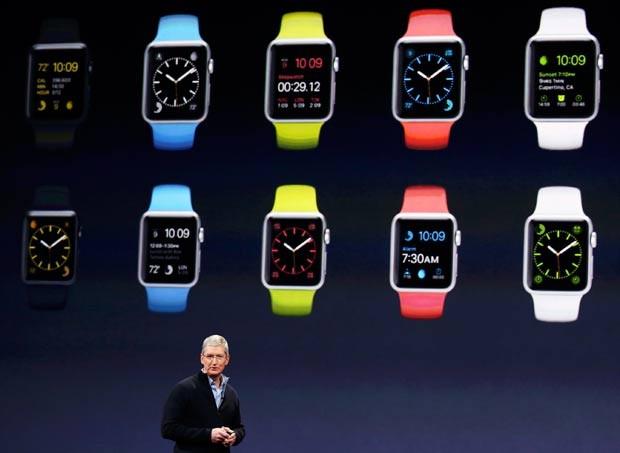 7283c7a5f50 Modelos do Apple Watch são mostrados em evento da marca (Foto   Reuters Robert