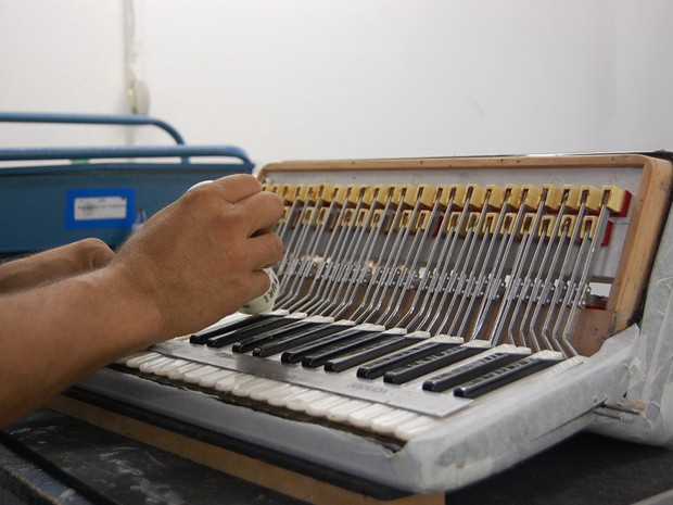 Com uma produção média de 10 peças por mês, a empresa de Campina Grande fabrica os acordeons de músicos famosos como Dorgival Dantas, Alcymar Monteiro e Genival Lacerda. (Foto: Ligia Coeli)