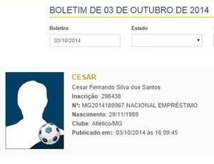 Nome de Cesinha é publicado no BID - Atlético-MG (Foto: Reprodução/ BID)
