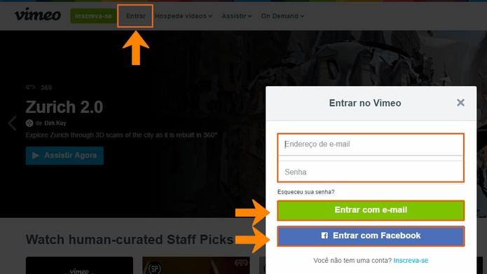 Acesse sua conta do Vimeo pelo computador (Foto: Reprodução/Barbara Mannara)