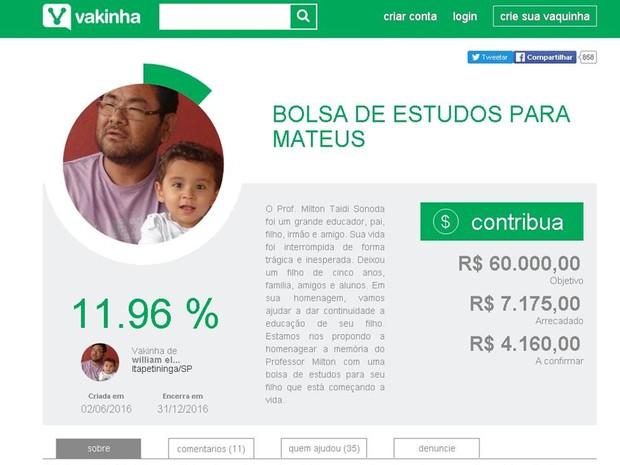Em quatro dias da campanha, R$ 7,1 foram arrecadados (Foto: Reprodução/ vakinha.com.br)