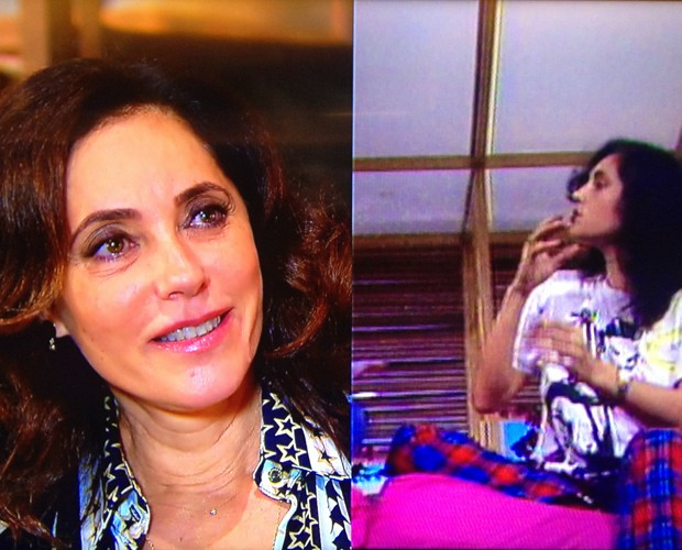 Christiane Torloni assiste depoimento antigo (Foto: Estrelas/TV Globo)