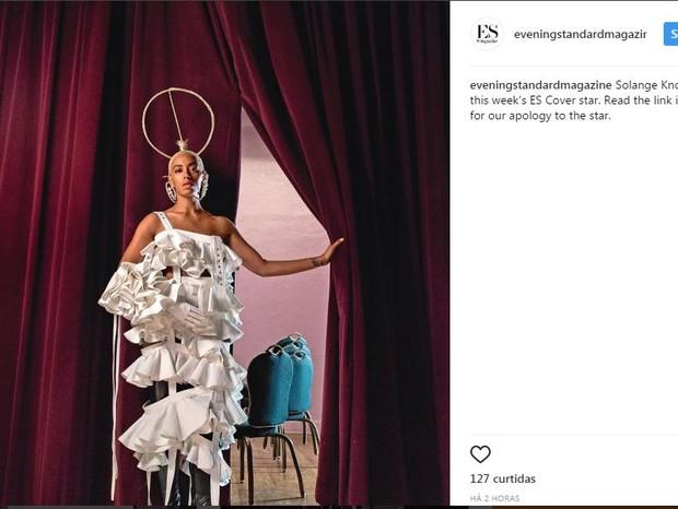 Solange Knowles: em sua conta no Instagram, o jornal London Evening Post fez um pedido de desculpas à cantora (Foto: Reprodução Instagram)