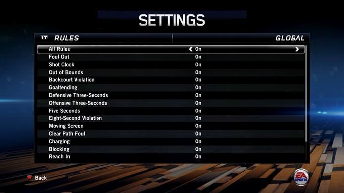 NBA Live 14: como personalizar as regras do game (Foto: Reprodução/Murilo Molina)