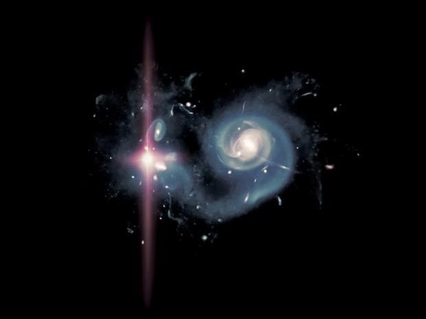 Simulação de uma supernova 'superluminosa' no ambiente dos primórdios do Universo (Foto: Adrian Malec e Marie Martig/Swinburne University)