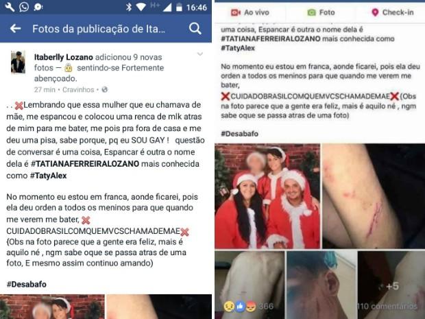 Dois dias antes de morrer, Itaberli postou no Facebook texto com fotos após ser agredido pela mãe (Foto: Reprodução/Facebook)