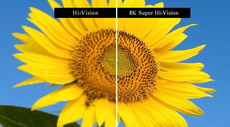 Comparativo mostrando a alta resolução da tecnologia 8K