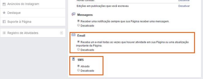 Ative notificações por e-mail ou SMS para a Página do Facebook (Foto: Reprodução/Barbara Mannara)