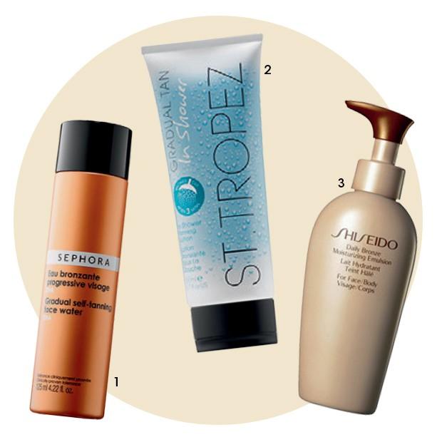 1 Gradual Self Tanning FaceWater, US$ 18, Sephora 2 In ShowerGradual Tan,US$ 25, St. Tropez 3 Hidratante Daily Bronze, R$ 271, Shiseido (Foto: Xico Buny, Thinkstock e Divulgação)