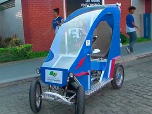 Veículo Elétrico Compartilhado criado por estudantes da Bahia (Foto: Imagem/TV Subaé)