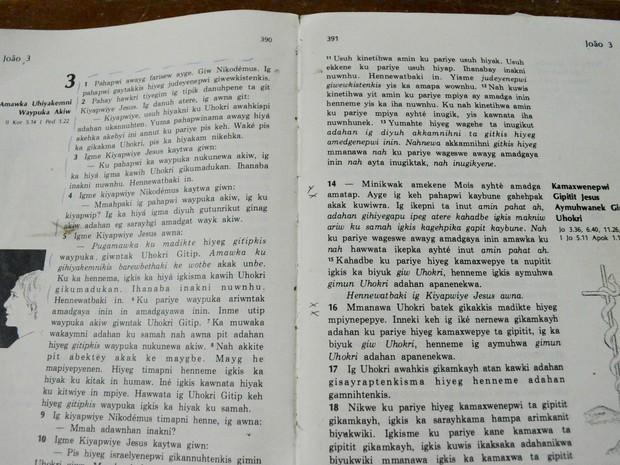 Bíblia escrita em palikur, língua materna da aldeia Kumenê (Foto: Abinoan Santiago/G1)