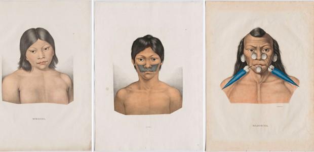 """Índios Miranha, Iuri e Muxuruna, litografias coloridas a mão do álbum """"Viagem ao Brasil"""", de Spix e Martius, publicado em Munique em 1823 (Foto: Edouard Fraipont)"""