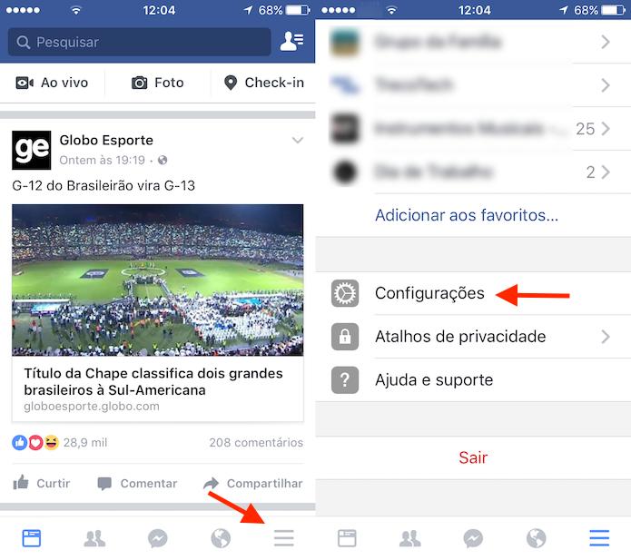 Caminho para as configurações de uma conta do Facebook para iPhone (Foto: Reprodução/Marvin Costa)