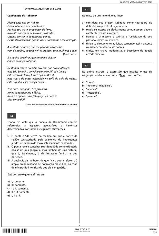 Fuvest - Caderno de Prova - 17 (Foto: Reprodução/Fuvest)