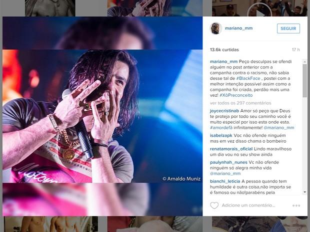 Mariano pede desculpa por fazer 'blackface' em campanha contra o racismo (Foto: Reprodução/Instagram)