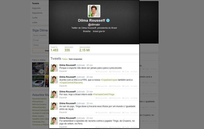 Dilma twitter racismo Tinga (Foto: Reprodução / Twitter)