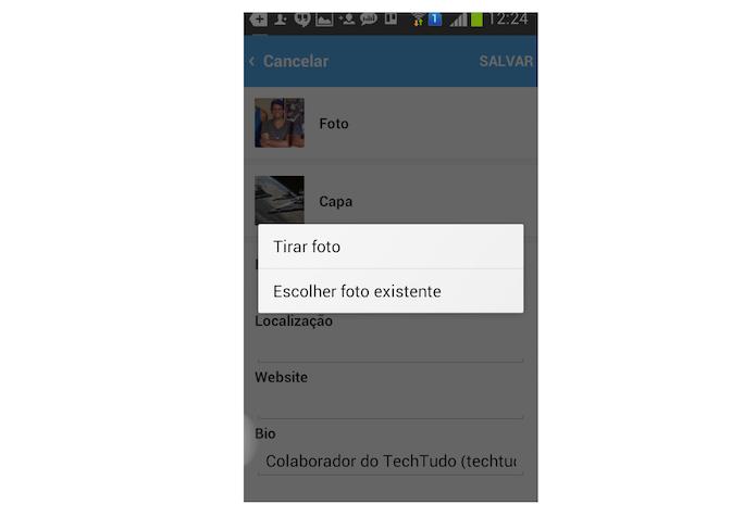 Acessando a câmera ou a biblioteca do Android para alterar a foto de perfil do Twitter (Foto: Reprodução/Marvin Costa)