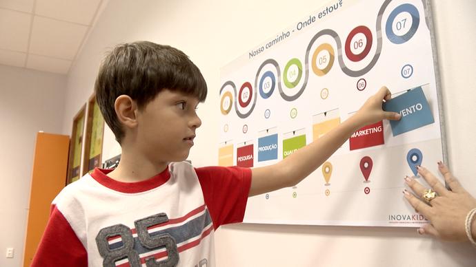 Crianças participam de aula de educação financeira (Foto: Divulgação/ TV Gazeta ES)