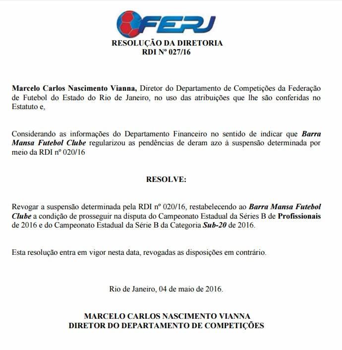 Federação publica documento que autoriza retorno do Barra Mansa à Série B (Foto: Reprodução/Ferj)