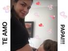 Michel Teló beija barriga de Thaís Fersoza e atriz posta foto na web