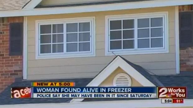 Mulher foi encontrada viva após passar cinco dias dentro de um freezer. (Foto: Reprodução)