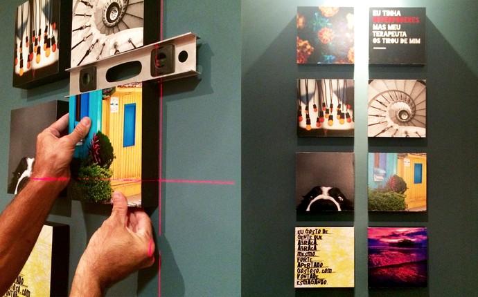 Quadros pequenos e alinhados no Decora em Ação (Foto: Sheila Rocha)