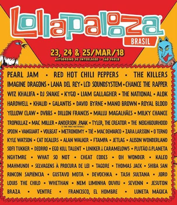 Lollapalooza divulga line up de 2018 (Foto: Divulgação)