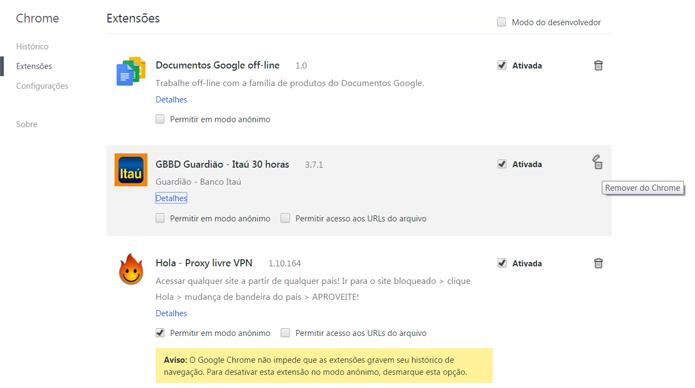 Localize e remova o plugin do seu banco de todos os navegadores que você utiliza (Foto: Reprodução/Filipe Garrett)
