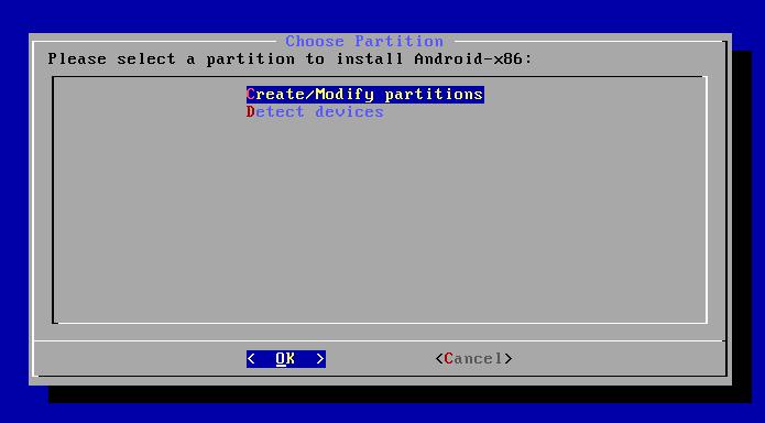 Selecionando a opção Create/Modify partitions (Foto: Reprodução/Edivaldo Brito)