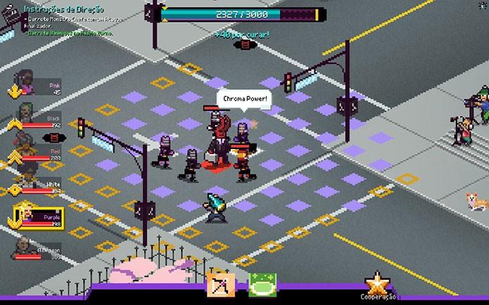 Os combates de Chroma Squad são no estilo de estratégia em turnos (Foto: Reprodução/Felipe Vinha)