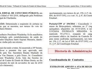 TCE suspende provas para 124 vagas de concurso público em Uberlândia  (Foto: Reprodução/DOC)