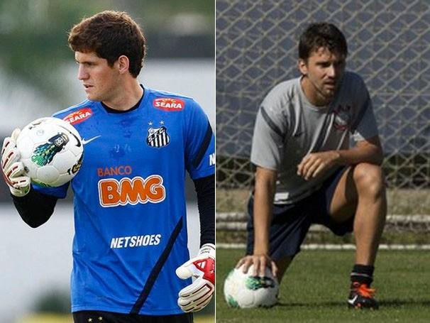 Os goleiros se preparam para o jogo (Foto: Ricardo Saibun / Santos FC / Daniel Augusto Jr. / Agência Corinthians)