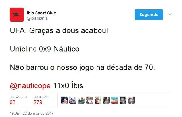 Íbis, Uniclinic, twitter (Foto: Reprodução/Twitter)