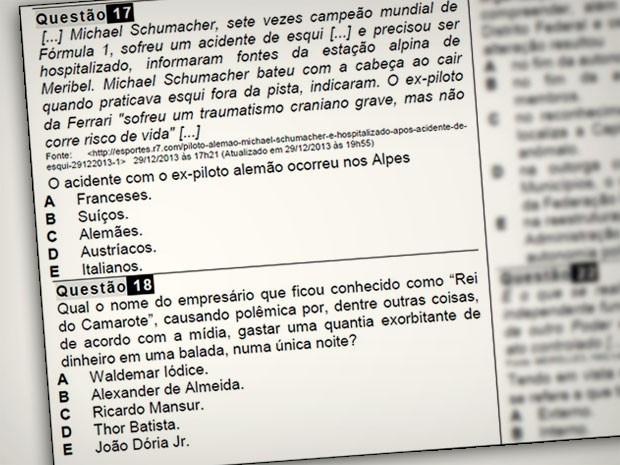 Prova trouxe questões sobre Michael Schumacher e 'rei do camarote' (Foto: Reprodução)