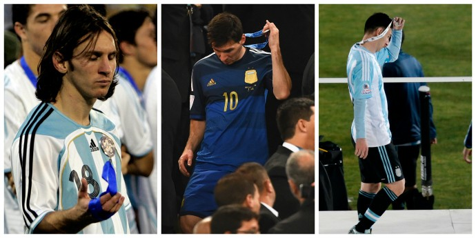 Messi vice Copa América 2007, Copa do Mundo 2014 e Copa América 2015