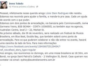 Publicação no Facebook pede doação para família do brasileiro morto na Austrália (Foto: Reprodução/Facebook)