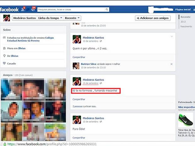 Página de suposto preso de Ilhéus no Facebook, Bahia (Foto: Reprodução/ Aspra)