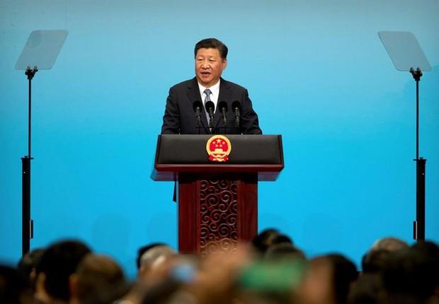 O presidente da China, Xi Jinping, durante discurso de abertura da cúpula dos Brics (Foto: Mark Schiefelbein / EFE)